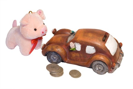 A close-up of the coin box as toy car. photo