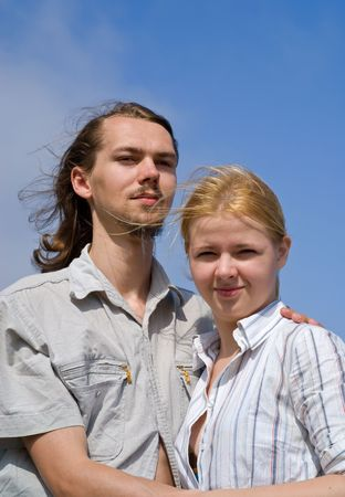 dearness: Portrait of the young man and woman. Summer, sunny day.