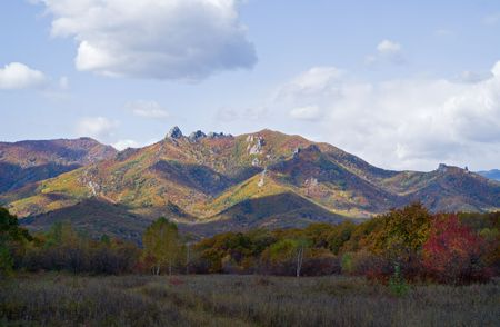 woodsy: An autumn landscape at a woodsy mountains. October. Stock Photo