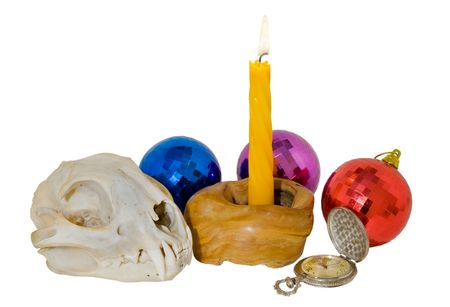 A close up of the skull of big cat (lynx) and burning candle, watch and colored spheres. Symbol of year 2010. Isolated on white. photo