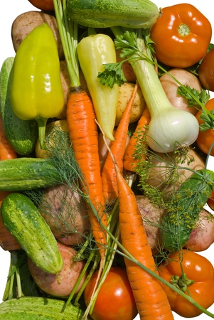 A close up of the fresh vegetables. Isolated on white. photo