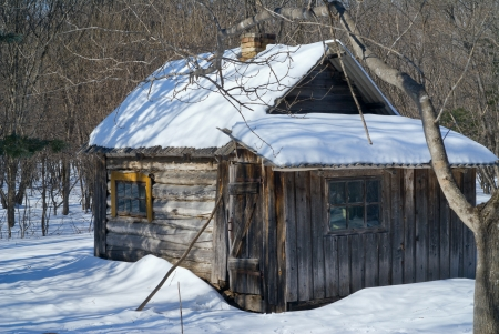 The very small cabin in winter forest.