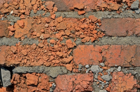 A close up of the surface old brickwork. photo