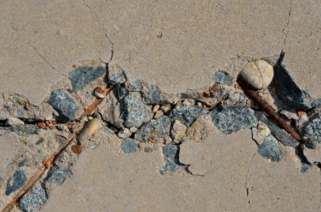 armature: A close up old destroyed concrete with armature. Stock Photo