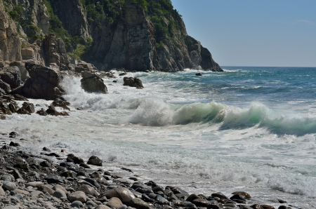 seawater: The landscape on sea  rocky cape, seawater and surf