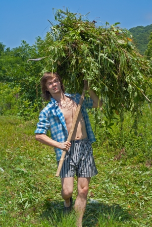 hayfork: The young man is carrying a hay with hayfork on green meadow. Stock Photo