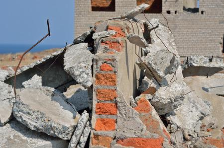 demolished: A ruins of buildings, broken bricks and concrete constructions.