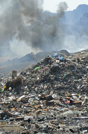 scrapheap: A landscape on scrap-heap in smoke.