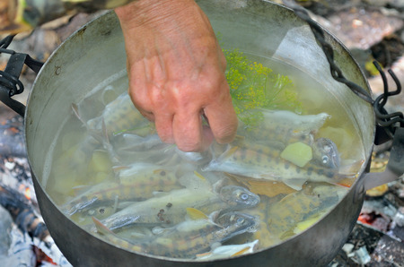 A cooking fish-soup in pot on bonfire. Standard-Bild