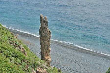 The alone rock at sea.