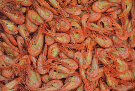 A close up of the boiled shrimps.