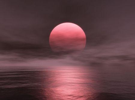 Red Sun Stock Photo