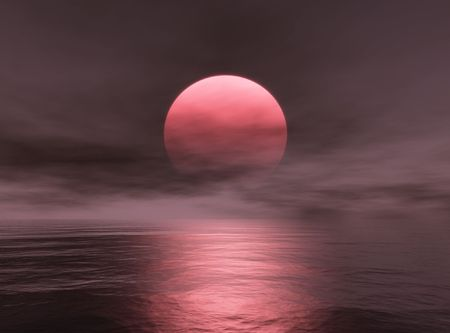 Red Sun Stock Photo
