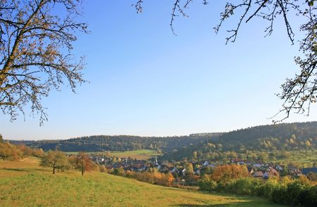 This image shows autumnal black forest with village