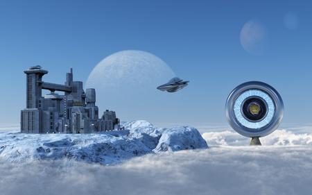 Alien Station Stock Photo