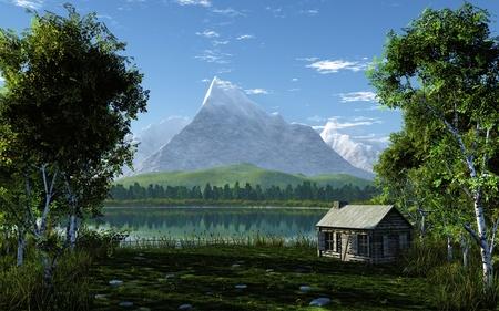 lakeside: Idyllic Landscape Stock Photo