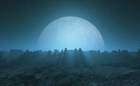 moonrise: Moonrise with bizarre rocks