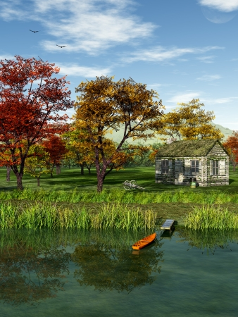 lakeside: Idyllic landscape with a cabin in fall