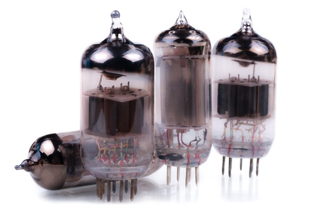 Vacuum radio tubes  Isolated on white background  photo