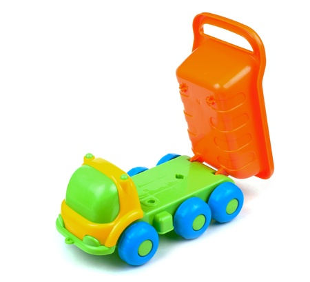 Tipper truck colorful toy   Isolated on white background  photo