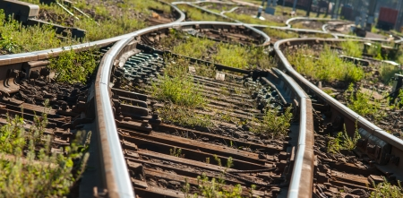 rail cross: Railroads track points with Shallow Depth of Field