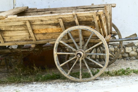spoked: Wooden wheel from cart Stock Photo