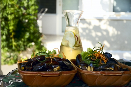 frites: Delicious dish with mussels Stock Photo