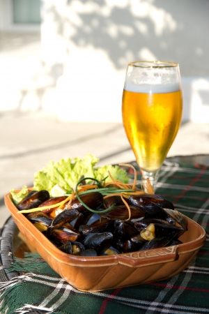 wine stocks: Delicious dish with mussels Stock Photo