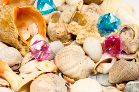 Several different shells and colorful glass pebbles Stock Photo