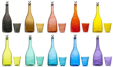 ten empty: Two Lines of empty colorful bottles with glass. Ten colors