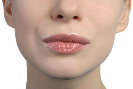 close up shot of a womans lips kissing Stock Photo