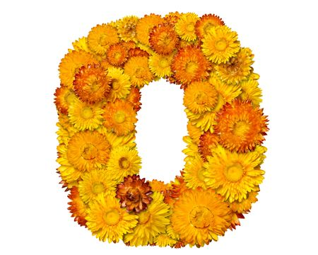 clippng: Number from alphabet from yellow and orange flowers. Isolated on white background. With clipping path