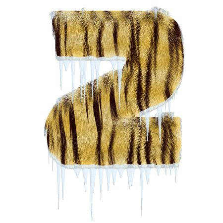 Frosty letter from tiger style fur alphabet with melting iciles. Isolated on white background. With clipping path. photo