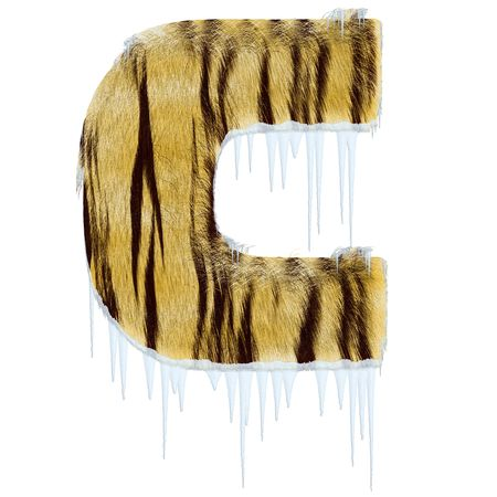 Frosty letter from tiger style fur alphabet with melting iciles. Isolated on white background.  photo