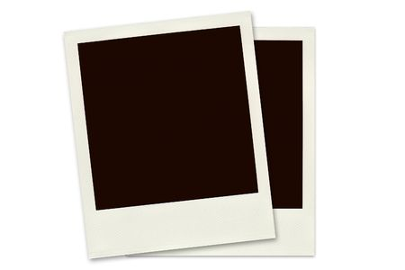 Two Polaroid frames isolated on a white background