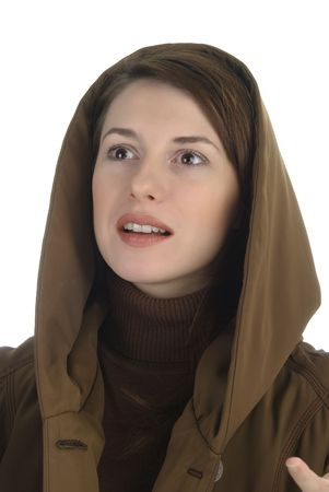 Amazed young woman  in hood Stock Photo - 6255287