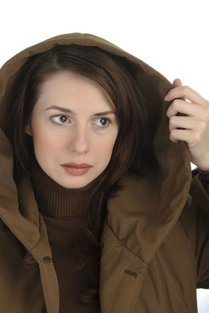 Attentive young woman  in hood Stock Photo - 6255268