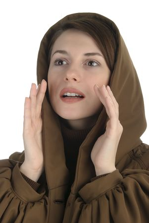 Young woman in a hood colling Stock Photo - 6255300