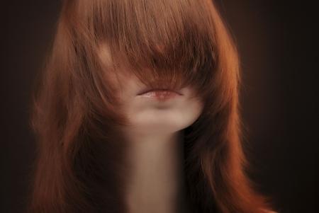 bangs: Long hair covering female face