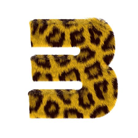 Numeral from tiger style fur alphabet. Isolated on white background. With clipping path. Stock Photo