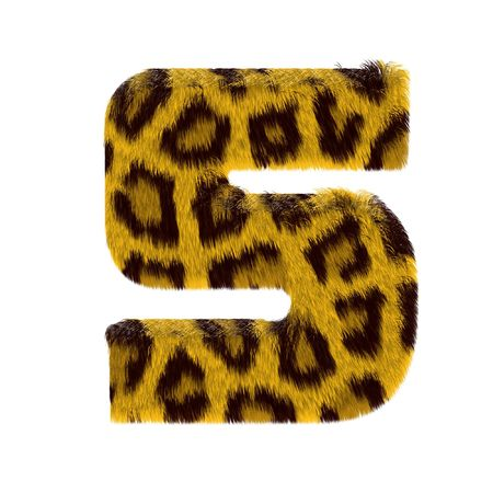 Numeral from tiger style fur alphabet. Isolated on white background. With clipping path. photo