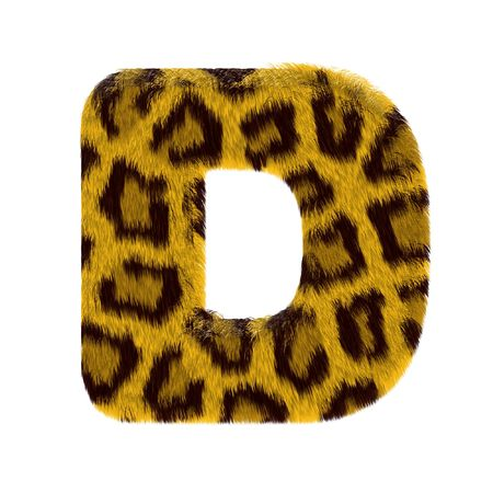 Letter from tiger style fur alphabet. Isolated on white background.