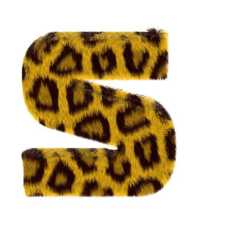 Letter from tiger style fur alphabet. Isolated on white background.  photo