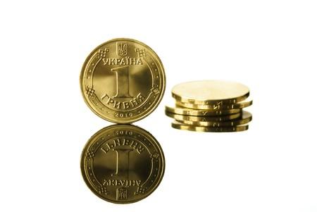 hryvna: Ukrainian real coin hryvna  isolated on white background Stock Photo