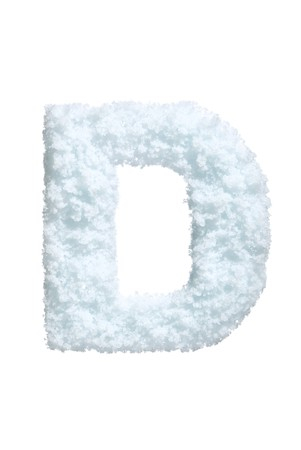 ice font: Letter from snow style alphabet. Isolated on white background.  Stock Photo
