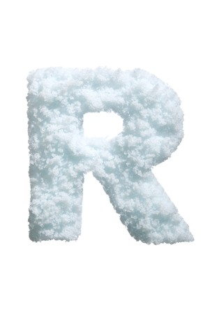 ice font: Letter from snow style alphabet. Isolated on white background.