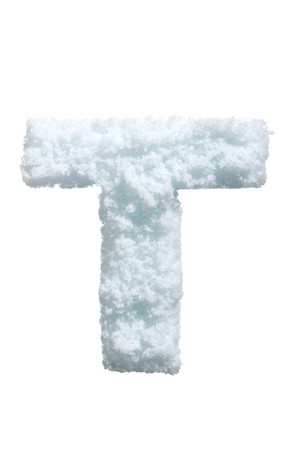 Letter from snow style alphabet. Isolated on white background.