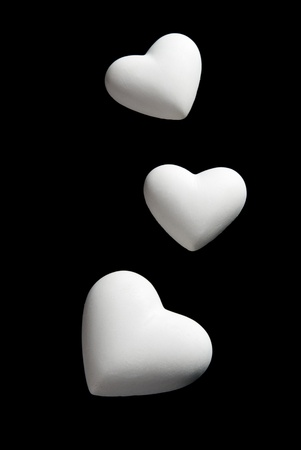 Valentines Day blank white Hearts Isolated on black Background with clipping path photo
