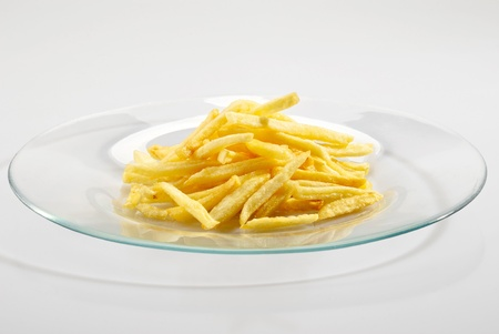 Fried potatoes on the plate over white background Stock Photo - 8765215