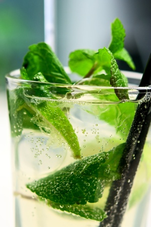 Glass of mojito cocktail covered with air bubbles. Closeup. Small depth of field Stock Photo - 8958731